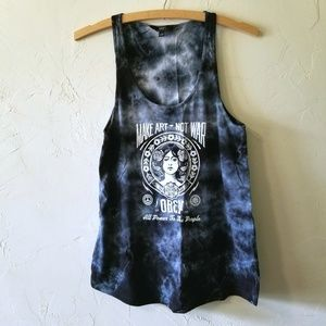 OBEY Blue Tie Dye Graphic Tank Top Size Small